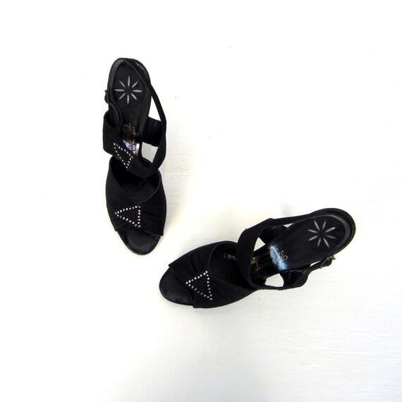 Vintage 1940s Shoes / 40s Heels / Rhinestone Heels / Size 9