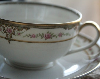 Limoges France, Tea Cup and Saucer, Fine Bone China