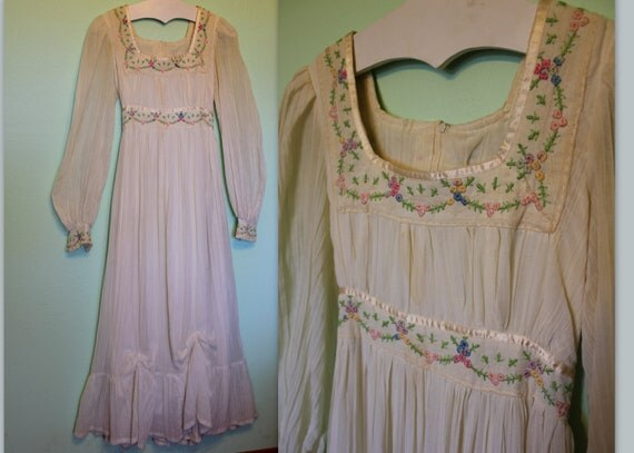 70s gauzy white maxi dress with floral embroidery ribbon trim
