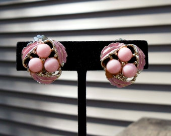 Vintage gold pink stone clip on earrings painted pink