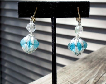 Vintage Blue and White Beaded Dangle Earrings CLIP ON