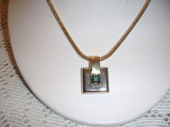 Vintage Park Lane Gold emerald necklace