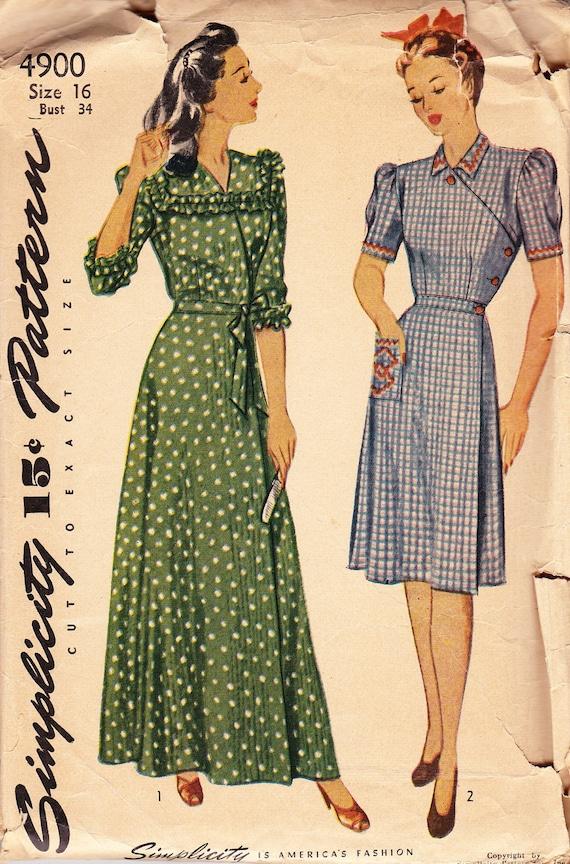 Vintage 1940's Women's Wrap House Dress Pattern - Simplicity 4900