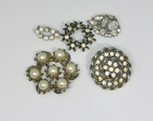 Rhinestone Jewelry Lot Vintage Jewelry Lot Pearl Destash for Crafts