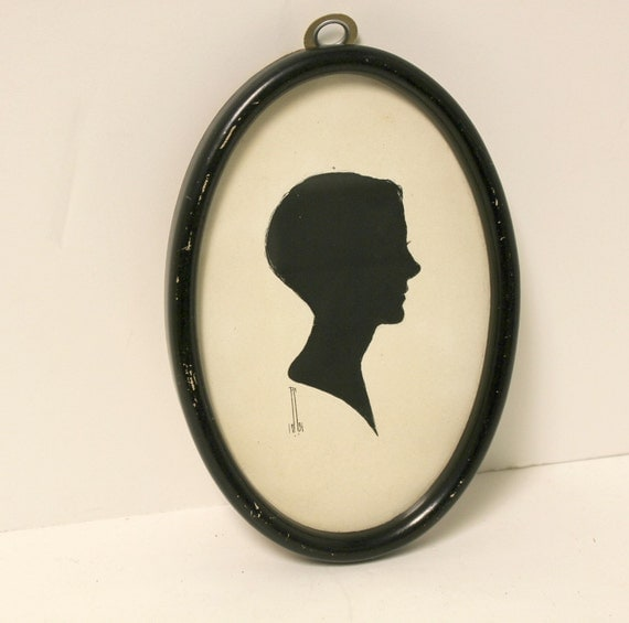 Vintage Silhouette Boy Bust Head on Board Signed Picture Wall Hanging