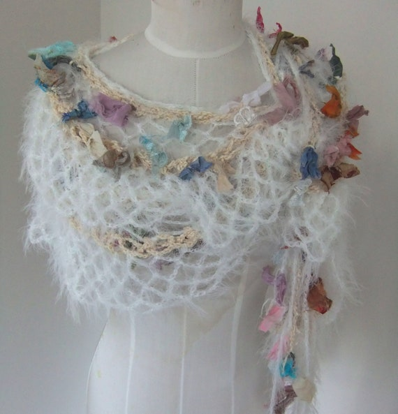 bits and pieces hand crocheted scrappy raggy ribbon lace extra long scarf