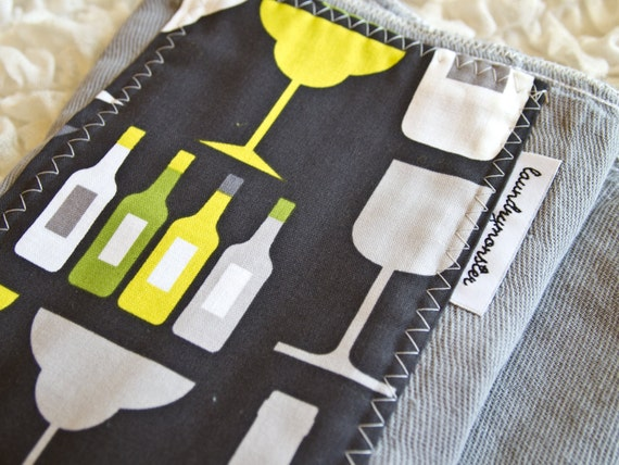 Baby burp cloth - wine and mixed drinks and gray and lime hand dyed burp cloth