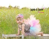 Jocelynn pink aqua gray satin bow flower lace headband and tutu set perfect for baby infant girl child photography prop