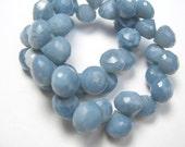 Blue African Opal Gemstone. Faceted Onion Briolette. 8mm.  Semi Precious Gemstone. Packet of 2 Gemstone Briolette Beads (1opb)