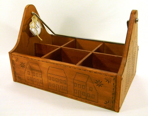 Wooden Caddy - Punched Tin