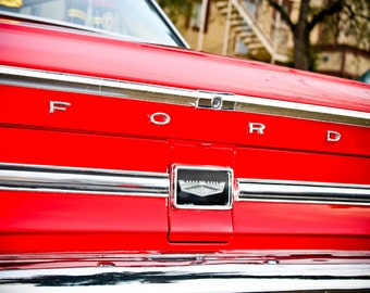 Ford Galaxie Lettering Car Photography, Automotive, Auto Dealer, Muscle, Sports Car, Mechanic, Boys Room, Garage, Dealership Art