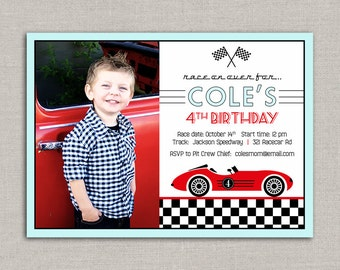 Vintage Race Car Birthday Invitation