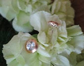 Brushed Bezel Studs in Rose Gold and Sterling with Spectacular Natural White Zircon, Ready to Ship