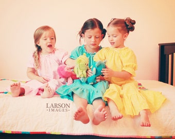 Sweet and Colorful Shirred Nightgown sizes 2-8 - Labor Day Sale August 31-Sept 4
