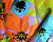 VINTAGE Limited Edition Giorgio SANT'ANGELO bright tropical floral scarf