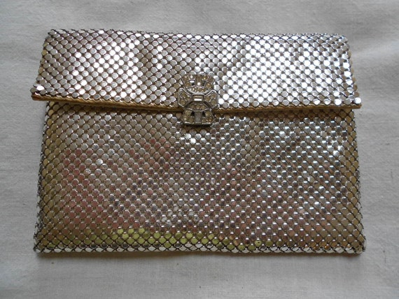 RESERVED for KATHY Antique Vintage Art Deco Whiting and Davis Silver Mesh Bag Purse Clutch Wallet with Rhinestones