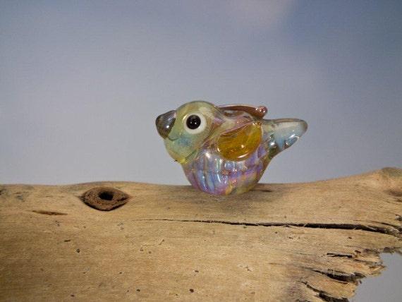 Ophelia... lampwork bird bead... sra