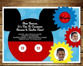 MICKEY MOUSE...Custom Printable Birthday Invitations...by KM Thomas Designs