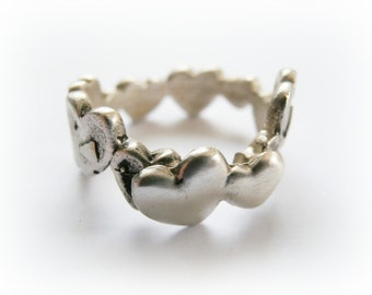 Ring of Hearts - Sterling Silver Heart Ring - Valentine Day Jewelry Sterling Silver - Sterling Silver Heart Stack Ring