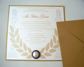 Grecian Goddess Bridal Shower Invitation--Square 6 x 6 Bridal Shower Invitation--Greek Goddess Stationery--Roman Style Wedding Invitation