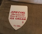 VINTAGE NOS Bennett's Town N Country Ice Cream Shelf Talker