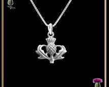 Small Thistle Scottish Pendant Scotland Emblem - Sterling Silver
