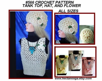 Hat Crochet Pattern -Tank Top -Summer Mesh clothing, Newborn to Adult, num. 566