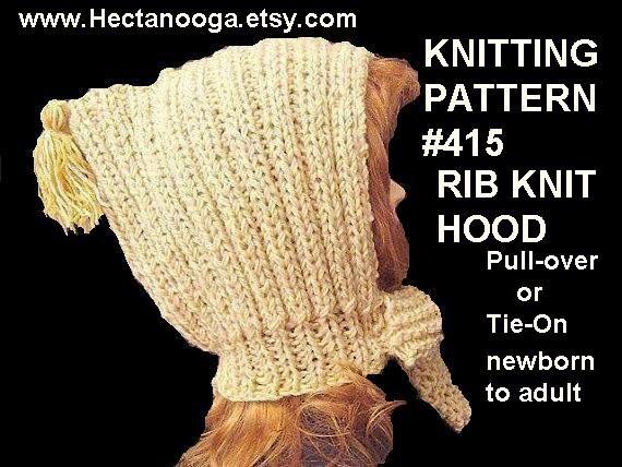 Knitting Items To Sell : Items similar to knitting pattern hat rib knit hood
