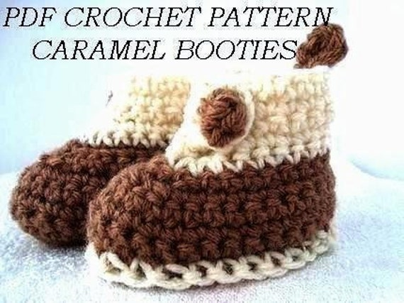 booties, CROCHET PATTERN,number 37... Caramel Booties . Size 0 to 3 months.