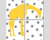 Polka Dot Giraffe Nursery Art Quad - Set of Four 8x10 Prints - Kids Wall Art - Jungle, Safari, Animal Art - CHOOSE YOUR COLORS