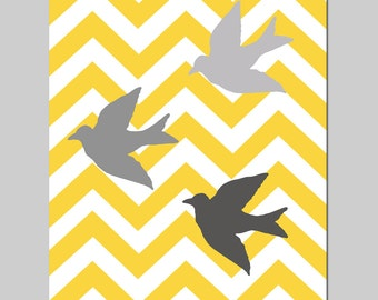 Chevron Birds Nursery Art Print - 8x10 Chevron Zig Zag or Polka Dot - CHOOSE YOUR COLORS - Shown in Gray, Yellow and More