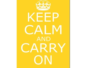 Keep Calm and Carry On - Wall Art - 13x19 Large Poster Size Print - Wall Decor - CHOOSE YOUR COLORS - Shown in Yellow, Gray, Red, and More
