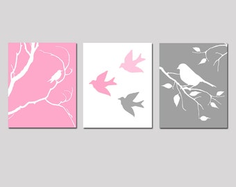Modern Bird Nursery Art Trio - Set of Three 8x10 Prints - CHOOSE YOUR COLORS - Shown in Gray, Yellow, Pink, Navy Blue and More