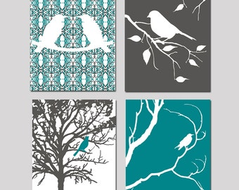 Modern Bird Quad - Set of Four 11x14 Nature Inspired Prints - Nursery Decor - CHOOSE YOUR COLORS - Shown in Gunmetal Gray, Teal, and More