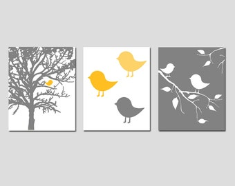 Modern Baby Bird Trio - Set of Three 8x10 Prints - Nursery Art Decor - CHOOSE YOUR COLORS - Shown in Gunmetal Gray, Yellow, and More