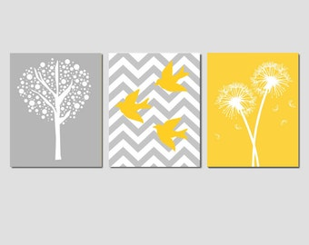 Kids Wall Art - Set of Three 11x14 Prints - Chevron Birds, Dandelions, Tree Dot - CHOOSE YOUR COLORS - Shown in Yellow and Gray