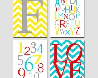 Nursery Art Modern Nursery Decor Quad - Chevron Initial, Alphabet, Numbers, Chevron Love - Set of Four 8x10 Prints - CHOOSE YOUR COLORS