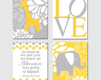 Kids Wall Art - Elephant Giraffe - Set of Four 8x10 Nursery Prints - Winnie The Pooh Adventure Quote - Choose Your Colors - Yellow and Gray