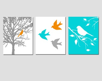 Nursery Art Prints - Modern Bird Trio - Set of Three 8x10 Prints - CHOOSE YOUR COLORS - Shown in Gray, Orange, Aqua, and More