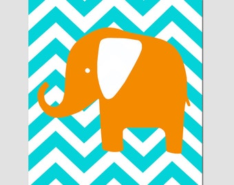 Chevron Elephant Silhouette Nursery Art Print - 11x14 - CHOOSE YOUR COLORS - Shown in Aqua, Orange, and More