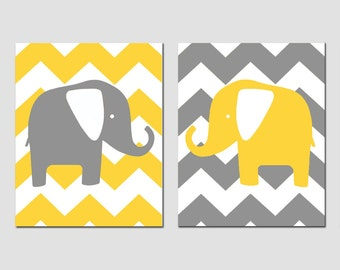Chevron Elephant Nursery Art Duo - Set of Two 8x10 Prints - CHOOSE YOUR COLORS - Shown in Gray, Yellow and More
