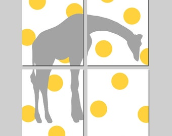 Giraffe Polka Dot Modern Nursery Art Quad - Set of Four 8x10 Prints - CHOOSE YOUR COLORS - Shown in Yellow, Gray, and More