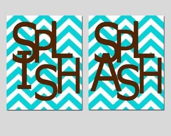 Kids Bathroom Wall Art Print Set - Set of Two 8x10 Chevron Prints - Splish, Splash - Kids Wall Art - CHOOSE YOUR COLORS