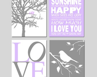 Purple Gray Nursery Art Quad - Set of Four 8x10 Prints - You Are My Sunshine, Love, Birds in a Tree, Bird on a Branch - CHOOSE YOUR COLORS