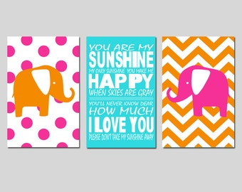 Hot Pink Orange Aqua Nursery Art Trio - Chevron Polka Dot Elephants, You Are My Sunshine - Set of Three 13x19 Prints - CHOOSE YOUR COLORS
