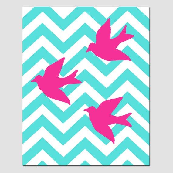 Chevron Birds - 8x10 Chevron or Polka Dot Nursery Art Print - Kids Wall Art - CHOOSE YOUR COLORS