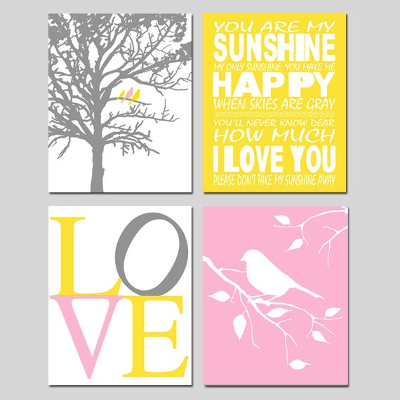 Nursery Quad - Set of Four 8x10 Prints - You Are My Sunshine, LOVE, Birds in a Tree, Bird on a Branch - Choose Your Colors