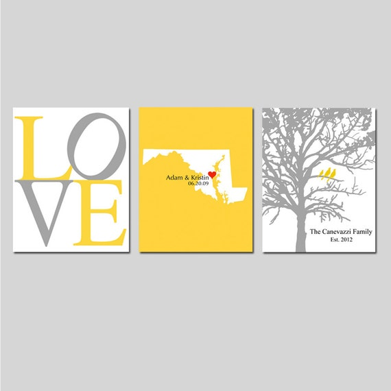 Modern Newlywed Trio - Set of Three 5x7 Customizable Prints - Love, Family Established Bird Tree, State Love Map - GREAT WEDDING GIFT