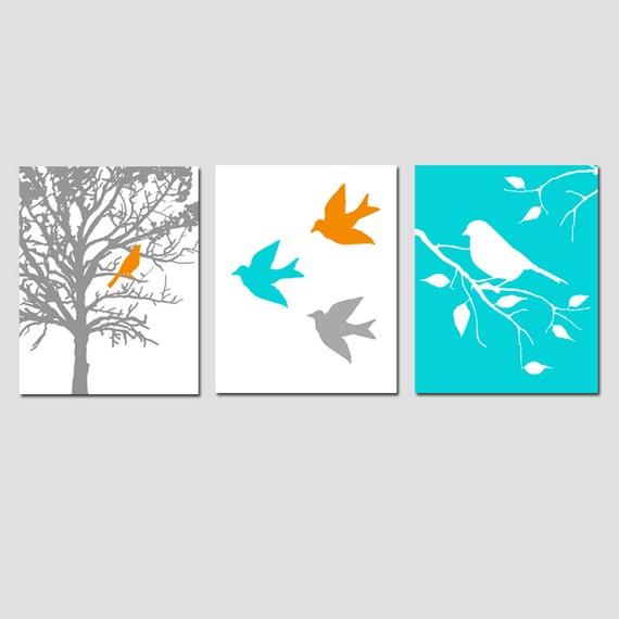 Nursery Art Prints - Modern Bird Trio - Set of Three 8x10 Prints - CHOOSE YOUR COLORS - Shown in Gray, Orange, Aqua, and More