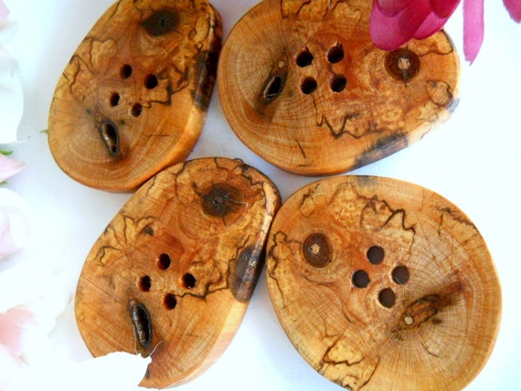 Wood Buttons 4 Spalted Maple Tree Branch Buttons - Michigan Made 2 to 2 3/8 Inches For Sweaters, Cowls, Scarves, Handbags, Mug Cozies